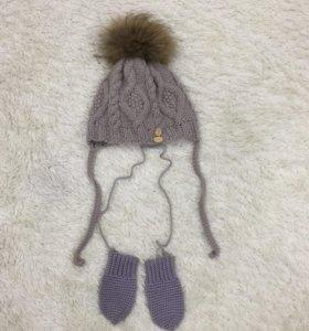 Зимняя шапка и варежки, натуральный мех