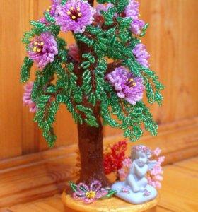 Дерево из бисера с ангелочком