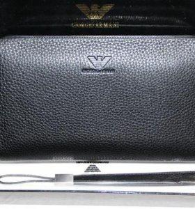 Мужской кожаный клатч G. Armani 2 large с ремешком