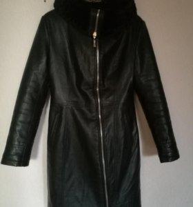 Кожаная пальто утепленный