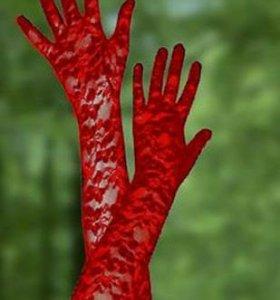 Перчатки красные кружевные (новые)