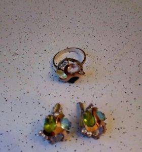 Серьги и кольцо серебро, золото