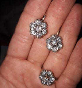 Серебро 925пробы комплект малина
