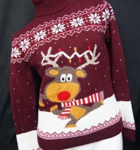 Новый! Новогодний свитер с оленем