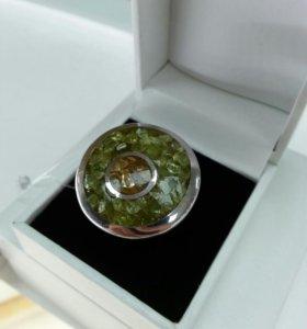Серебряное кольцо с природными цитринами и кварцем