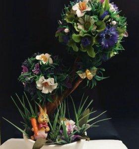 Топиарий.Декоративное дерево.Цветущее дерево.