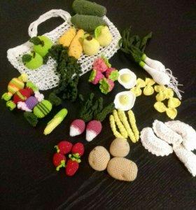 Вязаные фрукты овощи еда