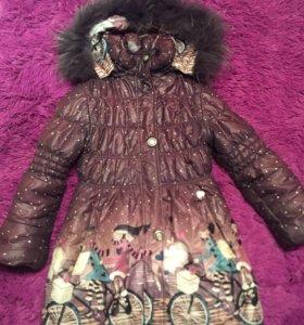Зимнее тёплое пальто-пуховик 6-8 лет доставка