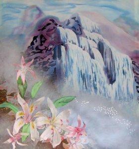 """Панно """"Водопад с объёмными цветами"""", 40-50 р"""
