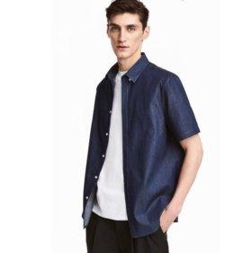 Темно-синяя рубашка h&m