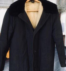 Мужское меховое пальто мех овчина