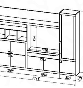 Стенка Джелани №4 размер - 2745х376х2100 мм