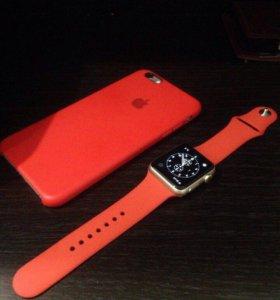 Ремешок силиконовый Apple Watch 42mm red/красный