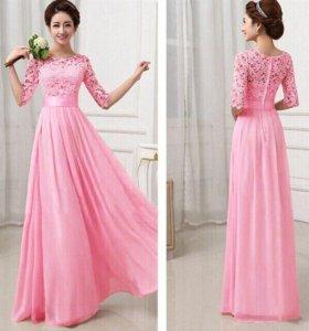 """Длинное розовое шифоновое платье """"Pluz"""""""