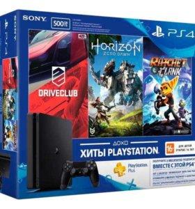 PlayStation 4 + второй геймпад + игры