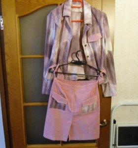 Костюм женский микро вельветовый пиджак и юбка