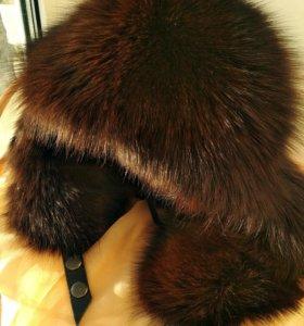 Шапка-ушанка из кожи с натуральным мехом