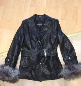 Кожаная куртка зимняя на меху
