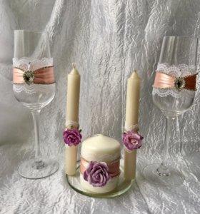 Свадебные свечи и бокалы