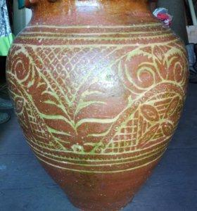 Глиняный горшок, ручной работы 30-35 л.