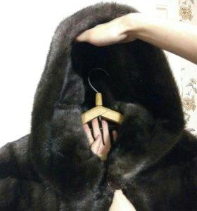 Шуба норковая с капюшоном