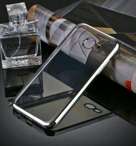 Чехол TPUгальваника Samsung Galaxy A3/2017 silver