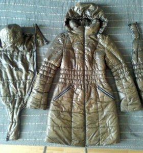Зимняя слинго-куртка 3 в 1 Аквамарин