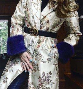 A.YA Жаккардовое пальто с норковыми манжетами
