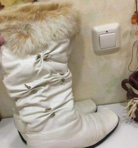 Натуральные кожаные зимние сапоги