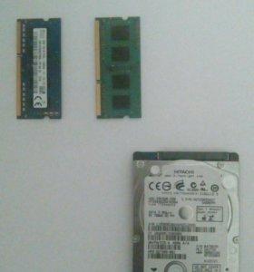 Оперативная память на ноутбук(2 шт) Жесткий диск.