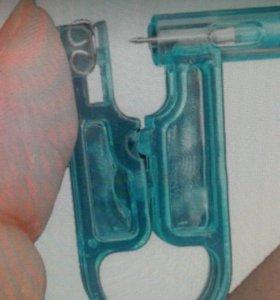 Пистолет одноразовый для пирсинга с серьгой 2 шт.