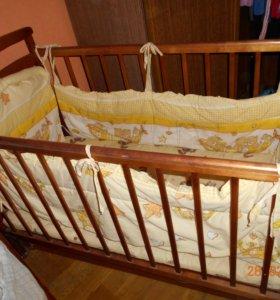 Кровать (продольный маятник качания) борт., матрац