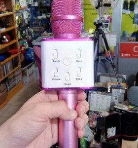 Микрофон беспроводной караоке розовый