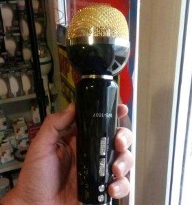 Микрофон черно золотой караоке блютус
