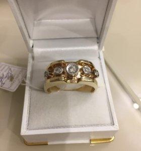Мужское кольцо золото 585 с бриллиантами