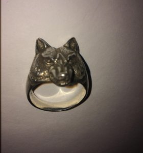 Мужское кольцо Волк серебро 925размер20-21