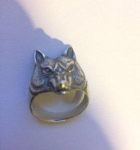 Мужское кольцо Волк серебро 925