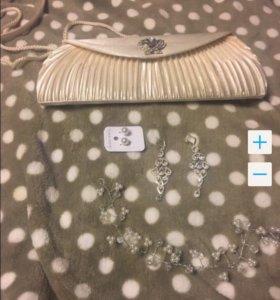 Свадебная сумка клатч На кнопке Бело/беж