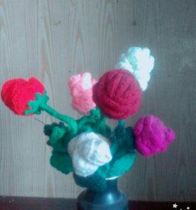 Вязанные цветочки