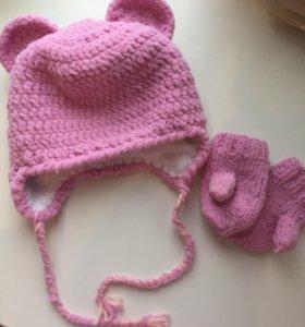 Новый комплект (шапка и варежки) ручная работа