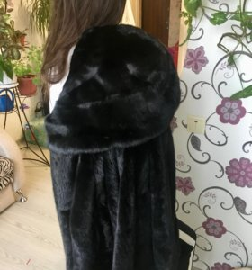 Шуба норковая, цвет чёрный бриллиант