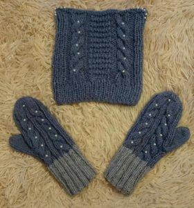 Вязаные варежки,вязаная шапка,ручной работы.
