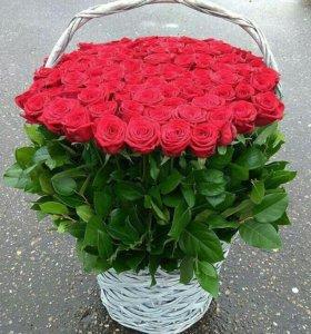 51 роза в корзине спб