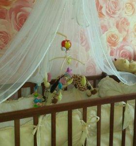 Кровать с матрасом бортиками и балдахином