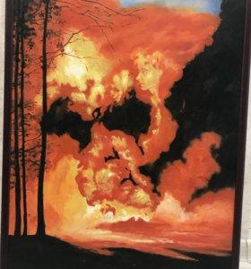 Картина маслом на холсте . Огонь в лесу