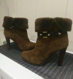 39-40!Ботинки замшевые зимние
