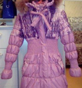Куртка зимняя удлинённая на девочку от 7 лет