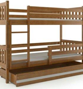 Кровать деревянная двухъярусная с матрасами и ящик