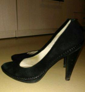 Туфли замшевые черные