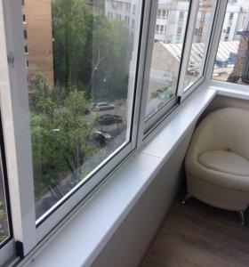 Отделка балконов, остекление балконов, окна.